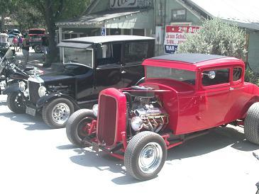 At a beer joint where the local show off they cars in Hunter, Texas