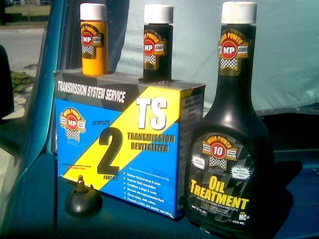 The picture shows Mega Power's DIY Transmission Flush Treatment. Easy to install  Works as you drive  Online orderin.